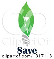 Clipart Of A Green Leaf Light Bulb Over Save Text Royalty Free Vector Illustration