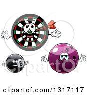 Clipart Of Dart Board Bowling Ball And Eightball Characters Royalty Free Vector Illustration