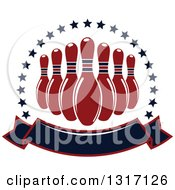 Clipart Of Red Bowling Pins In A Circle Of Stars Above A Blank Banner Royalty Free Vector Illustration