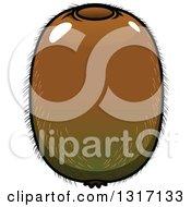 Clipart Of A Cartoon Shiny Kiwi Fruit Royalty Free Vector Illustration