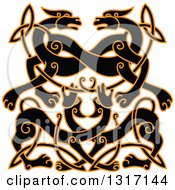 Black And Orange Celtic Knot Wolf Or Dog Design