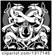 White Celtic Knot Wolf Or Dog Design Over Black
