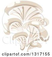 Clipart Of A Cartoon Oyster Mushrooms Royalty Free Vector Illustration