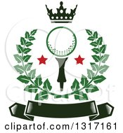 Clipart Of A Crown Above A Golf Ball With Stars In A Green Wreath Over A Blank Banner Royalty Free Vector Illustration