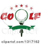 Clipart Of A Golf Ball On A Tee With Text Stars And A Blank Green Banner Royalty Free Vector Illustration