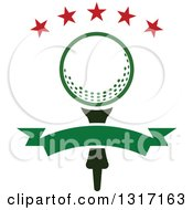 Clipart Of A Golf Ball On A Tee Under Stars With A Blank Green Banner Royalty Free Vector Illustration by Vector Tradition SM