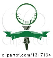 Clipart Of A Golf Ball On A Tee With A Blank Green Banner Royalty Free Vector Illustration