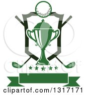 Clipart Of A Golf Ball Green Trophy And Crossed Clubs With A Shield Stars And Blank Banner Royalty Free Vector Illustration by Vector Tradition SM