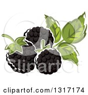 Clipart Of Cartoon Blackberries And Leaves Royalty Free Vector Illustration by Vector Tradition SM