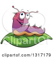 Clipart Of A Cartoon Purple Caterpillar On A Leaf Royalty Free Vector Illustration by Vector Tradition SM