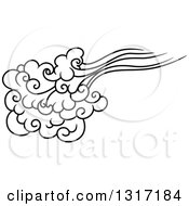 Clipart Of A Black And White Swirly Cloud And Wind 12 Royalty Free Vector Illustration
