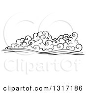 Clipart Of A Black And White Swirly Cloud And Wind 9 Royalty Free Vector Illustration by Vector Tradition SM