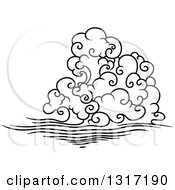 Clipart Of A Black And White Swirly Cloud And Wind 5 Royalty Free Vector Illustration by Vector Tradition SM