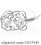 Clipart Of A Black And White Swirly Cloud And Wind 4 Royalty Free Vector Illustration by Vector Tradition SM