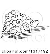 Clipart Of A Black And White Swirly Cloud And Wind 3 Royalty Free Vector Illustration by Vector Tradition SM