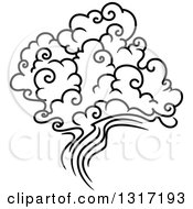 Clipart Of A Black And White Swirly Cloud And Wind 2 Royalty Free Vector Illustration by Vector Tradition SM