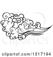 Clipart Of A Black And White Swirly Cloud And Wind 14 Royalty Free Vector Illustration by Vector Tradition SM