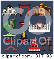 Clipart Of Flat Design Famous Landmarks And Buildings Of China India Greece France And Japan On Blue Royalty Free Vector Illustration