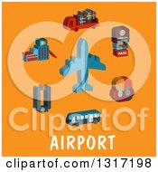 Flat Design Airplane With Travel Items Over Text On Orange