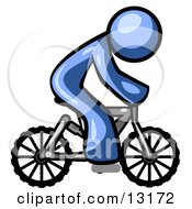 Blue Man Riding A Bicycle Clipart Illustration