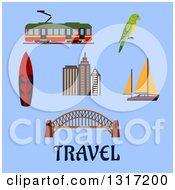 Clipart Of A Flat Design Australian Travel Items Harbour Bridge And Skyscrapers Yacht And Surfboard Tram And Eclectus Parrot On Blue With Text Royalty Free Vector Illustration by Vector Tradition SM