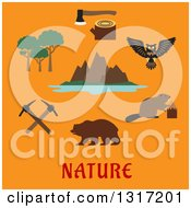 Clipart Of A Flat Design Canadian Nature And Travel Symbols Rocky Mountains Of The Valley Of The Ten Peaks And Moraine Lake Trees Axe On Stump Owl Beaver Bear And Crossed Picks Over Text On Orange Royalty Free Vector Illustration by Seamartini Graphics