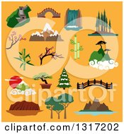 Clipart Of Flat Design Famous Landscapes And Buildings Of China Japan Canada USA Australia With Great Wall Ancient Bridges Waterfall Trees Of Rainforest Mountains Blooming Sakura Bamboo On Orange Royalty Free Vector Illustration