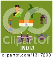 Clipart Of Flat Design Indian Culture And Travel Landmarks Woman  National Flag Pot Of Tea And A Hookah Pipe With Text On Green Royalty Free Vector Illustration