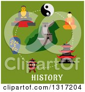 Clipart Of A Flat Design Of The Chinese Wall And Historical Landmarks Over Text On Green Royalty Free Vector Illustration