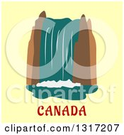 Clipart Of A Flat Design Of Niagara Falls Over Canada Text On Yellow Royalty Free Vector Illustration