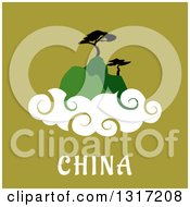 Clipart Of A Flat Design Of Chinese Mountains With Trees And Clouds Over Text On Green Royalty Free Vector Illustration by Seamartini Graphics