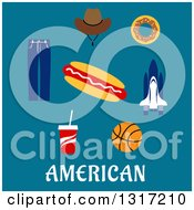 Clipart Of A Flat Design Of American Text With A Cowboy Hat Donut Rocket Hot Dog Basketball Soda And Jeans On Blue Royalty Free Vector Illustration