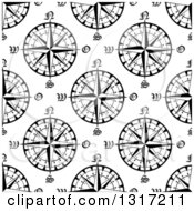 Clipart Of A Seamless Pattern Background Of Black And White Compasses 4 Royalty Free Vector Illustration by Vector Tradition SM