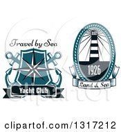 Clipart Of Nautical Lighthouse Star And Anchor Designs With Sample Text Royalty Free Vector Illustration