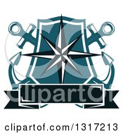 Clipart Of A Nautical Star Shield With Crossed Anchors And A Blank Banner Royalty Free Vector Illustration