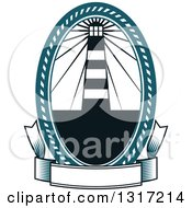 Clipart Of A Nautical Lighthouse In An Oval Above A Blank Banner Royalty Free Vector Illustration