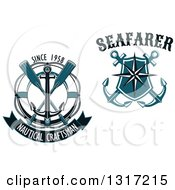 Clipart Of Nautical Star Shield Anchor Life Buoy And Oar Designs With Text Royalty Free Vector Illustration
