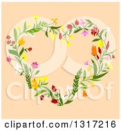 Clipart Of A Floral Heart On Tan Royalty Free Vector Illustration