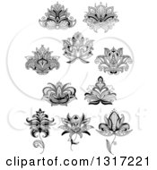 Clipart Of Black And White Henna And Lotus Flowers 13 Royalty Free Vector Illustration