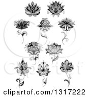 Clipart Of Black And White Henna And Lotus Flowers 12 Royalty Free Vector Illustration