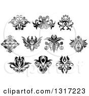 Clipart Of Black And White Vintage Floral Design Elements 14 Royalty Free Vector Illustration by Vector Tradition SM