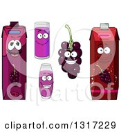Clipart Of Cartoon Currants And Juice Characters 2 Royalty Free Vector Illustration