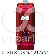 Clipart Of A Cartoon Happy Currant Juice Carton Character 6 Royalty Free Vector Illustration