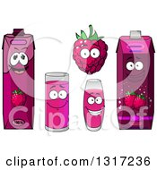 Clipart Of A Happy Raspberry Character Cups And Juice Cartons 2 Royalty Free Vector Illustration