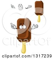 Clipart Of A Cartoon Face Hands And Fudge Popsicles Royalty Free Vector Illustration
