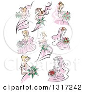 Clipart Of Sketched Caucasian Brides In Pink Dresses Holding Bouquets Of Flowers Royalty Free Vector Illustration