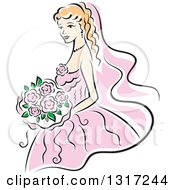 Clipart Of A Sketched Blond Caucasian Bride In A Pink Dress Holding A Bouquet Of Flowers Royalty Free Vector Illustration