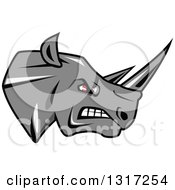 Clipart Of A Fierce Gray Rhino With Red Eyes Facing Right 2 Royalty Free Vector Illustration by Seamartini Graphics