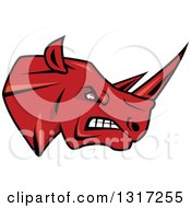 Clipart Of A Cartoon Angry Red Rhinoceros Head In Profile 3 Royalty Free Vector Illustration by Seamartini Graphics