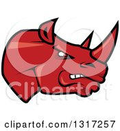 Cartoon Angry Red Rhinoceros Head In Profile 2